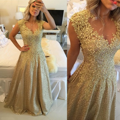 Glamorous Cap Sleeve Lace Appliques 2020 Prom Dresses Floor Length Formal Wear_5