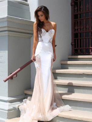 Sweetheart Lace Evening Dress with Mermaid Tulle Gorgeous_1