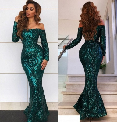 Gorgeous Off-the-Shoulder Long Sleeve Evening Gowns | Mermaid Sequin 2020 Prom Dress BC0703_4