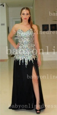 Rhinestone Long Black Prom Dresses 2020 Vestidos Dress New Sweetheart Top Crystal Chiffon Side Slit Gowns_2