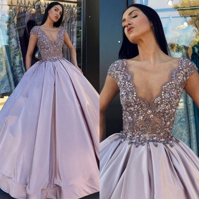Glamorous Cap Sleeve Long Evening Dress | 2020 V-Neck Prom Gown With Appliques BC0248_3