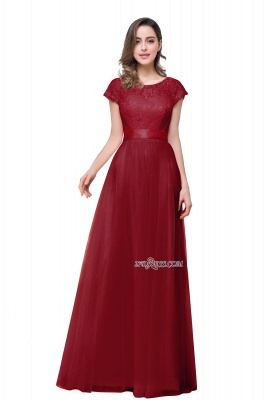 Bowknot Lace Open-Back A-Line Short-Sleeves Elegant Evening Dress_2