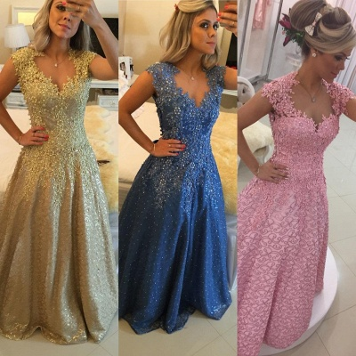 Glamorous Cap Sleeve Lace Appliques 2020 Prom Dresses Floor Length Formal Wear_4