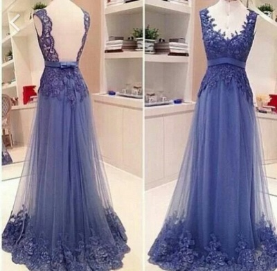 Elegant V-neck Sleeveless Prom Dress Open Back With Lace Appliques_2