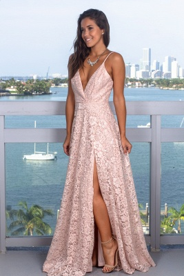 Elegant Deep V-Neck Sleeveless 2020 Prom Dress | Lace Long Sequins Evening Gowns With Split_2
