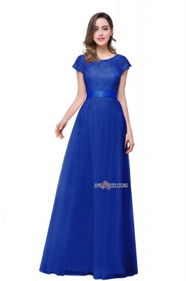Bowknot Lace Open-Back A-Line Short-Sleeves Elegant Evening Dress_3