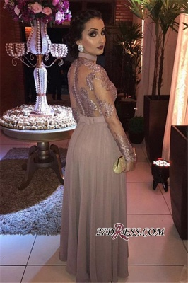 Slit Appliques Tulle Long-sleeves Evening Dresses_2