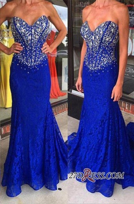 Sweetheart Mermaid Crystal Sweep-Train Lace Royal-Blue Prom Dresses_2