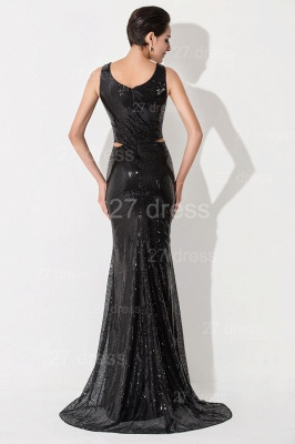 Sexy V-neck Mermaid Sequins Evening Dress Sweep Train_4
