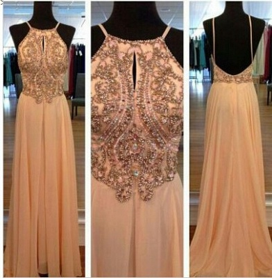 Sexy Spagetti Long Prom Dress Chiffon Straps Evening Party Gowns with Beadings Crystal_1