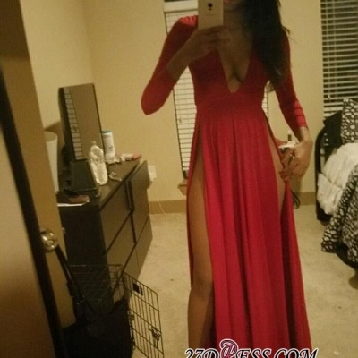 Long-Sleeve Red Modern Front-Split V-neck Prom Dress BA4630_2