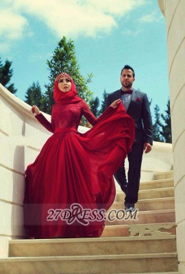 Sexy Red Lace Chiffon Prom Dress Long Sleeves Arabic Evening Gowns_1