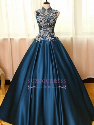 Lace Puffy Dresses Neck Dark Appliques Sleeveless Prom High Evening Dresses_1