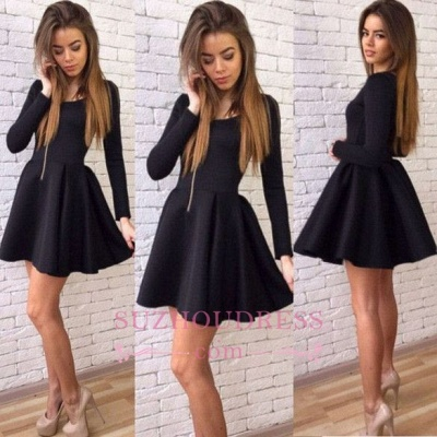 Black A-line Sexy Short Long-Sleeves Homecoming Dresses_1