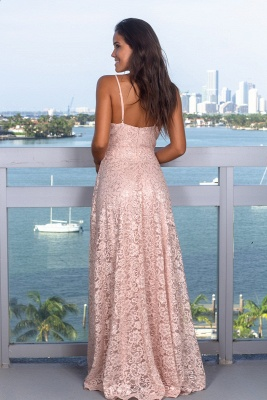 Elegant Deep V-Neck Sleeveless 2020 Prom Dress | Lace Long Sequins Evening Gowns With Split_4