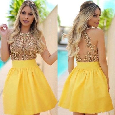 Charming Yellow Beadings Halter 2020 Short Homecoming Dress_3