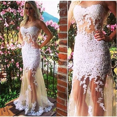 Sexy White Tulle Mermaid Evening Dresses Bateau Sleeveless Prom Gowns_2
