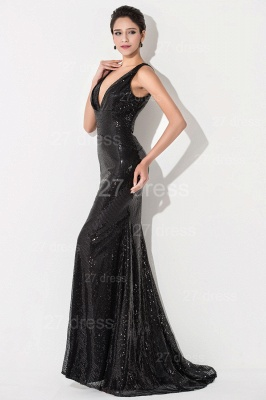 Sexy V-neck Mermaid Sequins Evening Dress Sweep Train_3