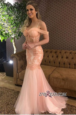 Pink Off-The-Shoulder Tulle Mermaid Prom Dress | Elegant Lace Applique Prom Gown_4