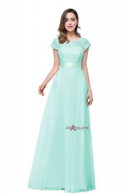 Bowknot Lace Open-Back A-Line Short-Sleeves Elegant Evening Dress_4