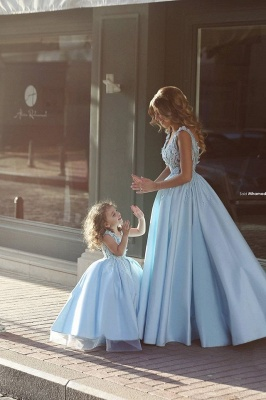Newest Flowers Straps A-line Mother And Daughter Prom Dress 2020 Ball Gown BA4321_2