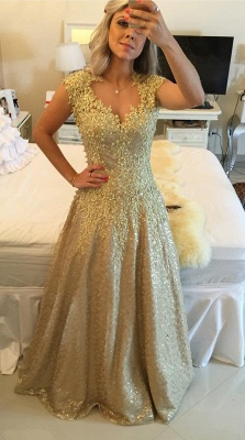Glamorous Cap Sleeve Lace Appliques 2020 Prom Dresses Floor Length Formal Wear_6