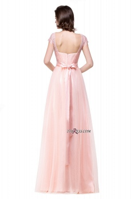 Bowknot Lace Open-Back A-Line Short-Sleeves Elegant Evening Dress_5