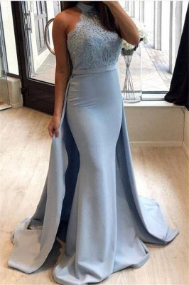 Lace 2020 Prom Dress With Ruffles | Mermaid Halter Long Evening Gowns_1