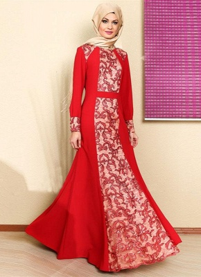 Elegant Long Sleeve Red Prom Dress With Appliques_4