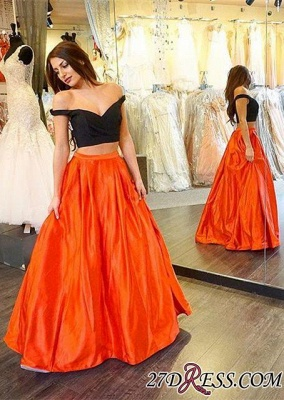2020 Sexy Two-Piece Long A-line Off-the-shoulder Prom Dress_2