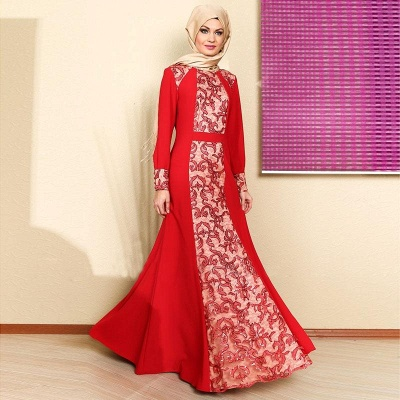 Elegant Long Sleeve Red Prom Dress With Appliques_1
