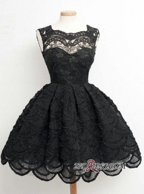 Knee-Length Little Dresses Lace Short Black Homecoming Dress_4