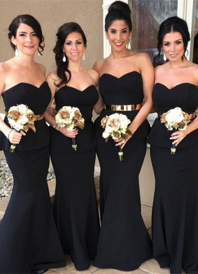 Glamorous Sweetheart Mermaid Bridesmaid Dress 2020 Long With Golden Belt_1