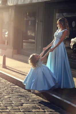 Newest Flowers Straps A-line Mother And Daughter Prom Dress 2020 Ball Gown BA4321_5