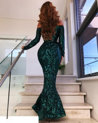 Gorgeous Off-the-Shoulder Long Sleeve Evening Gowns | Mermaid Sequin 2020 Prom Dress BC0703_2