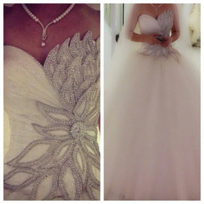 Newest Tulle Beadings White 2020 Wedding Dress Ball Gown Sweetheart_2