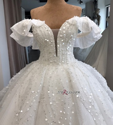 Beaded Ball-Gown Sequined Alluring Off-the-shoulder White Wedding Dresses_2