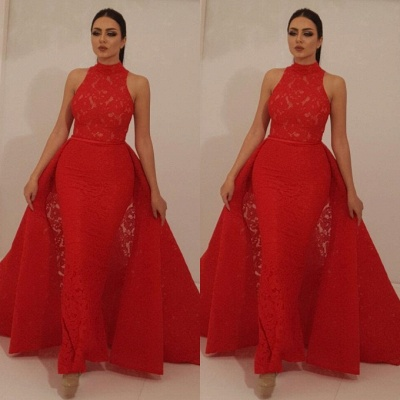 Charming Red High Neck Sleeveless Overskirt 2020 Prom Dress | Mermaid Lace Appliques Evening Gowns On Sale_3