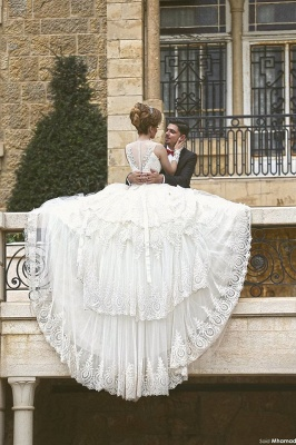 Elegant Tulle Lace Appliques Illusion Wedding Dress 2020 Ball Gown Zipper_4
