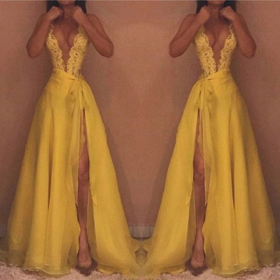Yellow V-Neck Sleeveless Evening Dress | 2020 Lace Prom Dress With Split_3