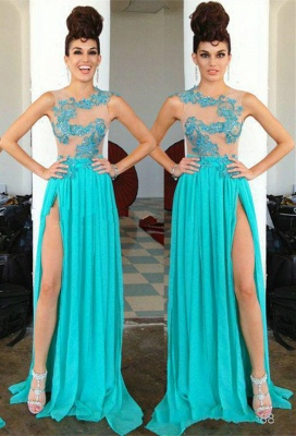 Modern Chiffon Appliques Sequined 2020 Prom Dress Front Split Sweep Train_1