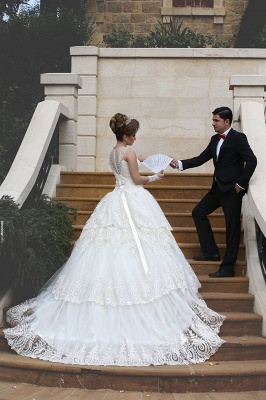 Elegant Tulle Lace Appliques Illusion Wedding Dress 2020 Ball Gown Zipper_8