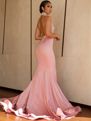 Pink Mermaid 2020 Prom Dress | V-Neck Lace Evening Gowns BA8862_4
