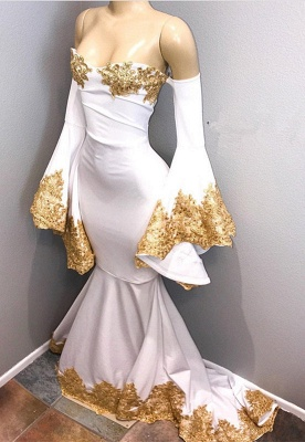 Long sleeve prom dress with gold appliques, mermaid 2020 evening dress BA8276_1