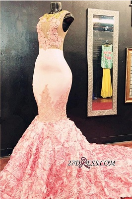 Gorgeous Illusion Appliques Flowers-Bottom Pink Sleeveless Lace Mermaid Prom Dress_2