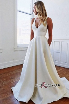 V-neck Bowknot A-line Charming Wedding Dresses_2