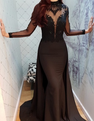 Modern Black Lace Long Sleeve Evening Dress   Detachable Train Prom Gown_6