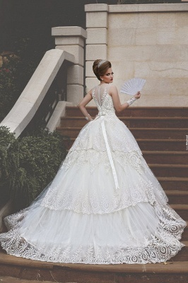 Elegant Tulle Lace Appliques Illusion Wedding Dress 2020 Ball Gown Zipper_7