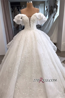 Beaded Ball-Gown Sequined Alluring Off-the-shoulder White Wedding Dresses_4