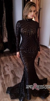 Sequined Black Mermaid High-Neck Sexy Long-Sleeves Prom Dress jj0085_3